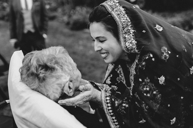 bride hugs her grandmother - outdoor ottawa wedding