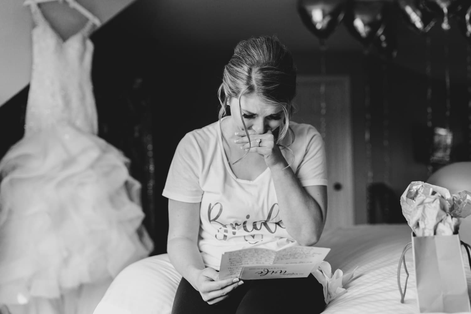 bride cries reading letter from groom