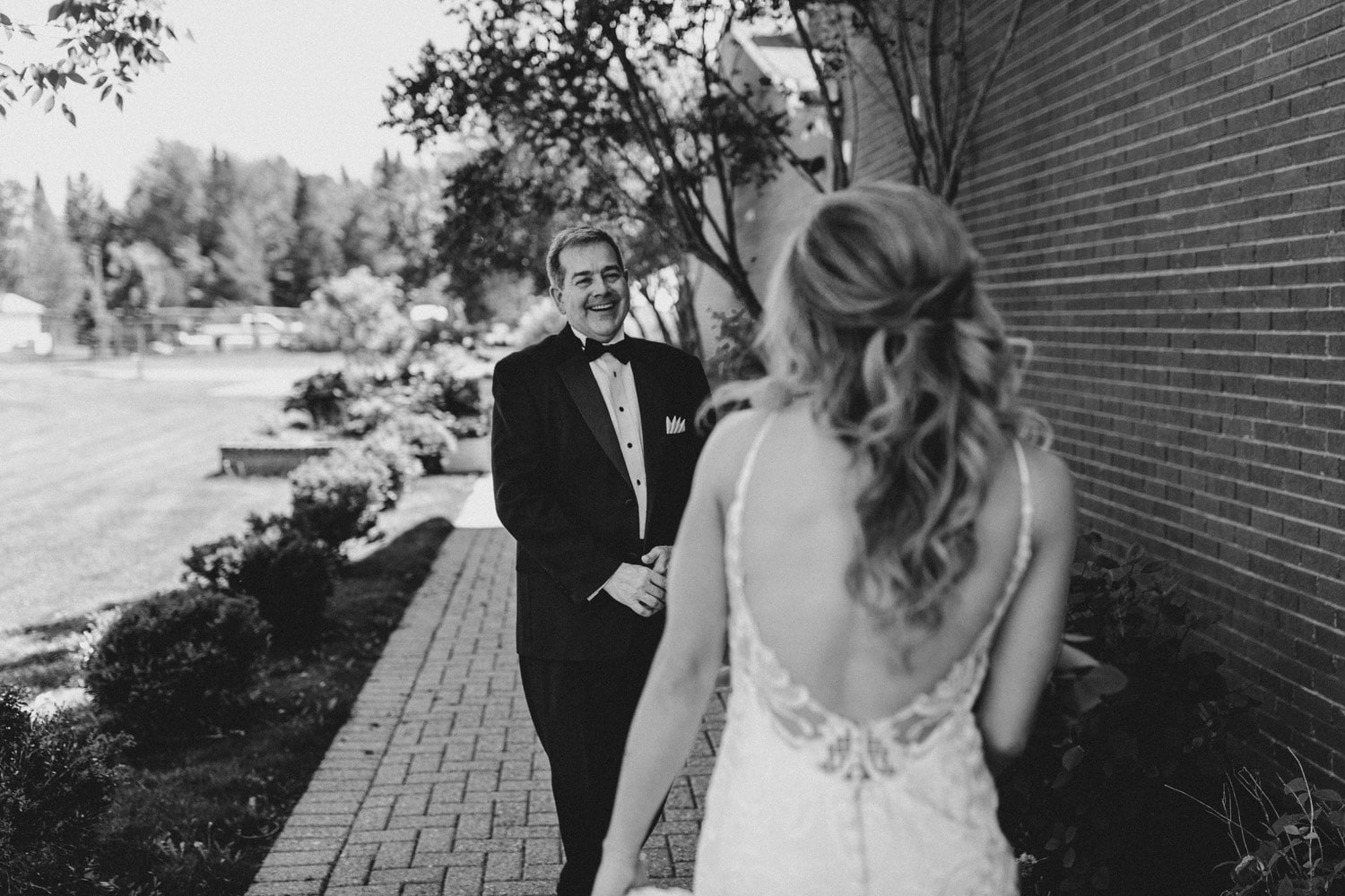 first look with bride's father - orchard view wedding