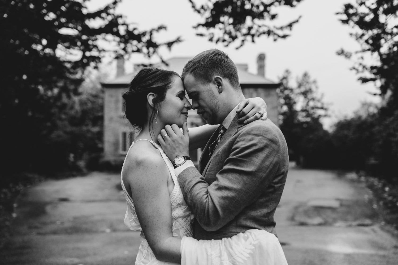 bride and groom get close
