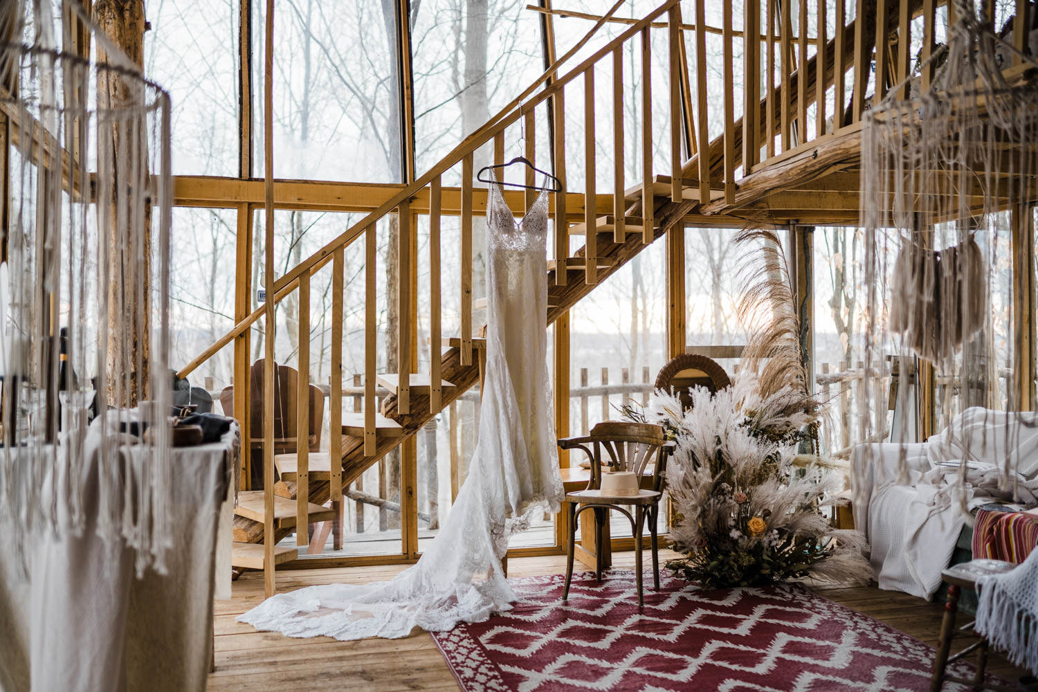 bridal elopement gown hanging in cabin