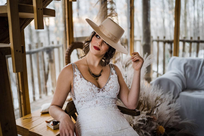 boho elopement - bride wears wide brimmed hat