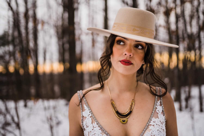 bridal elopement details - wide brimmed bridal hat