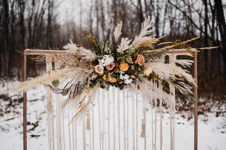 boho elopement arbour - winter elopement