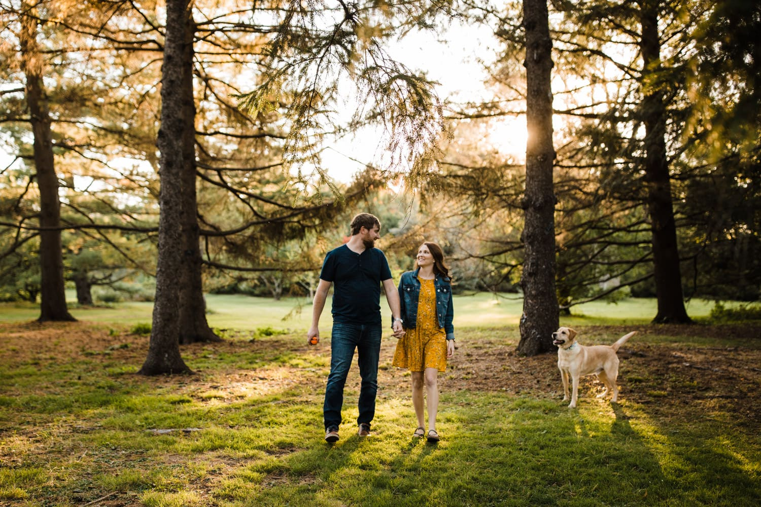 couple walk among trees with their dog - golden hour engagement session