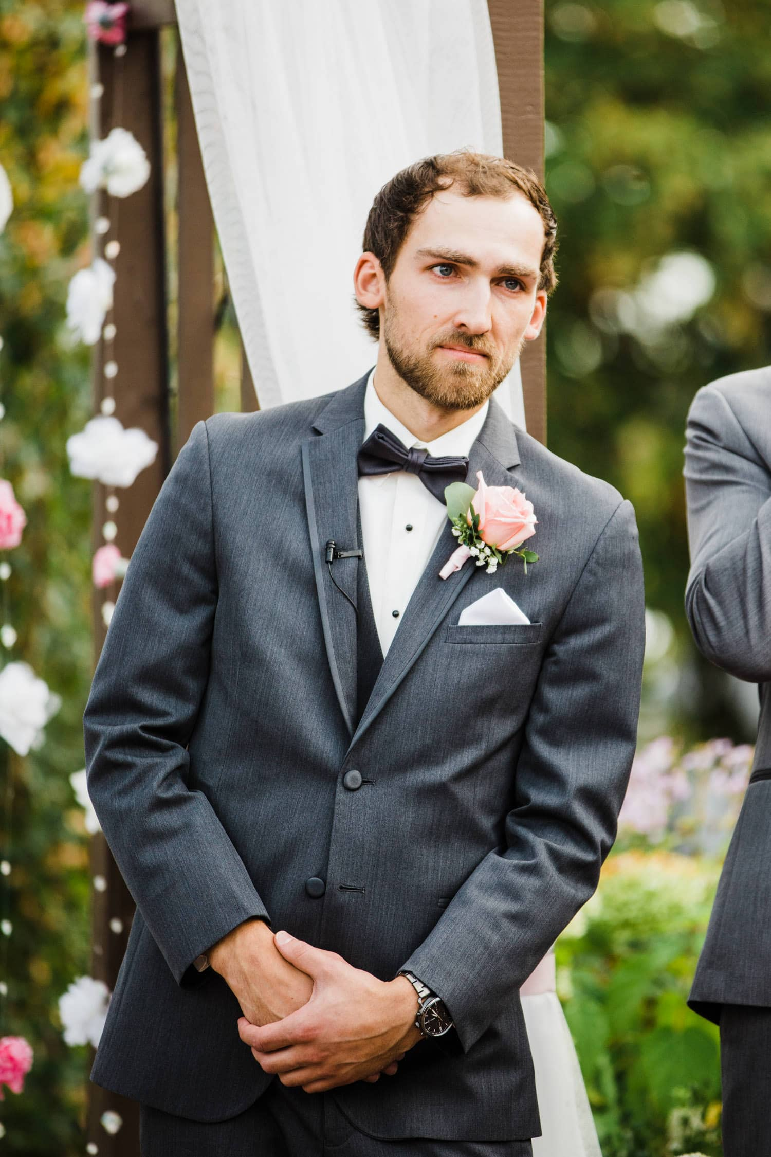 groom cries when he sees his bride for the first time - strathmere summer wedding
