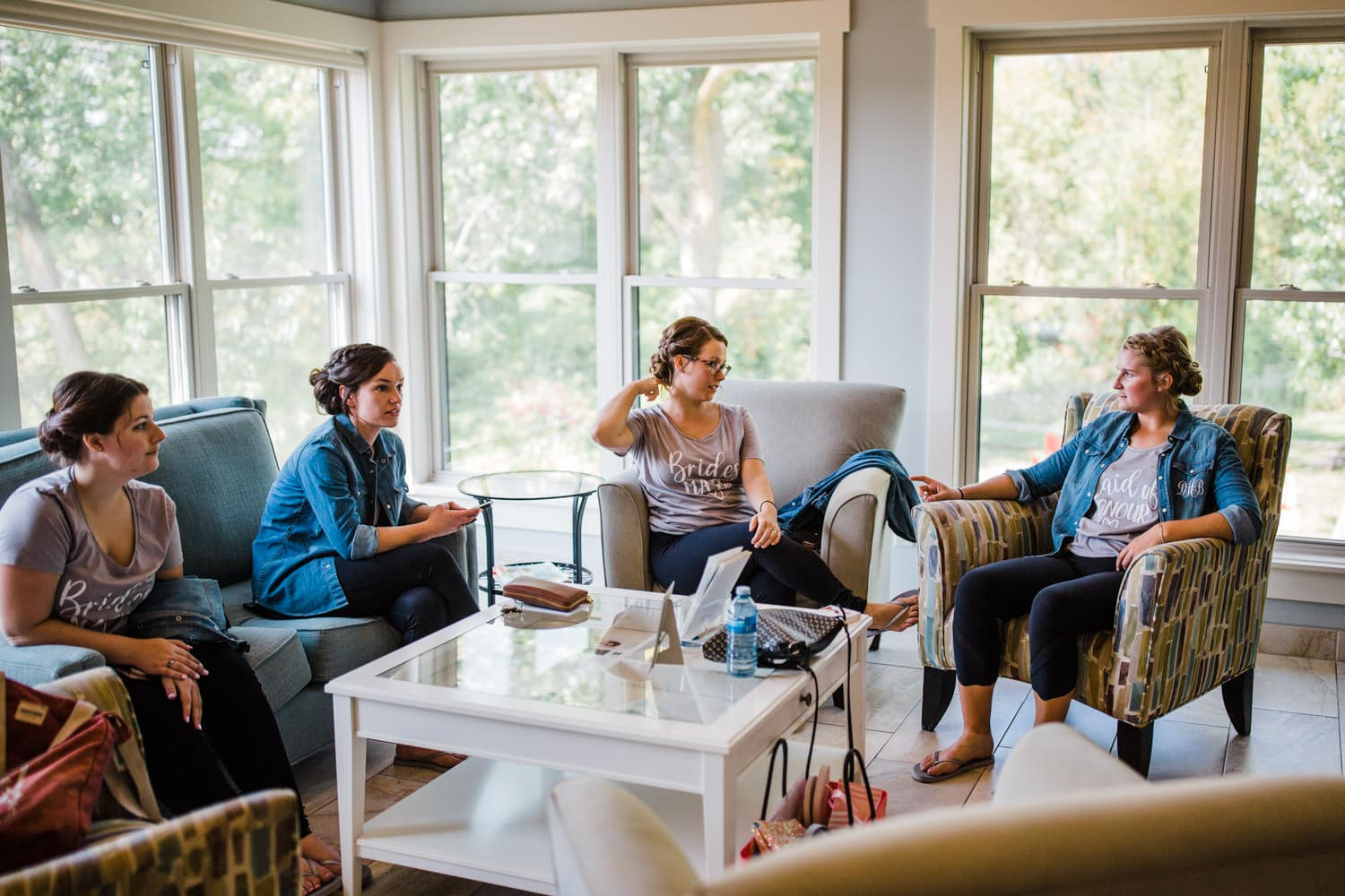 bridesmaids sit and chat at strathmere retreat