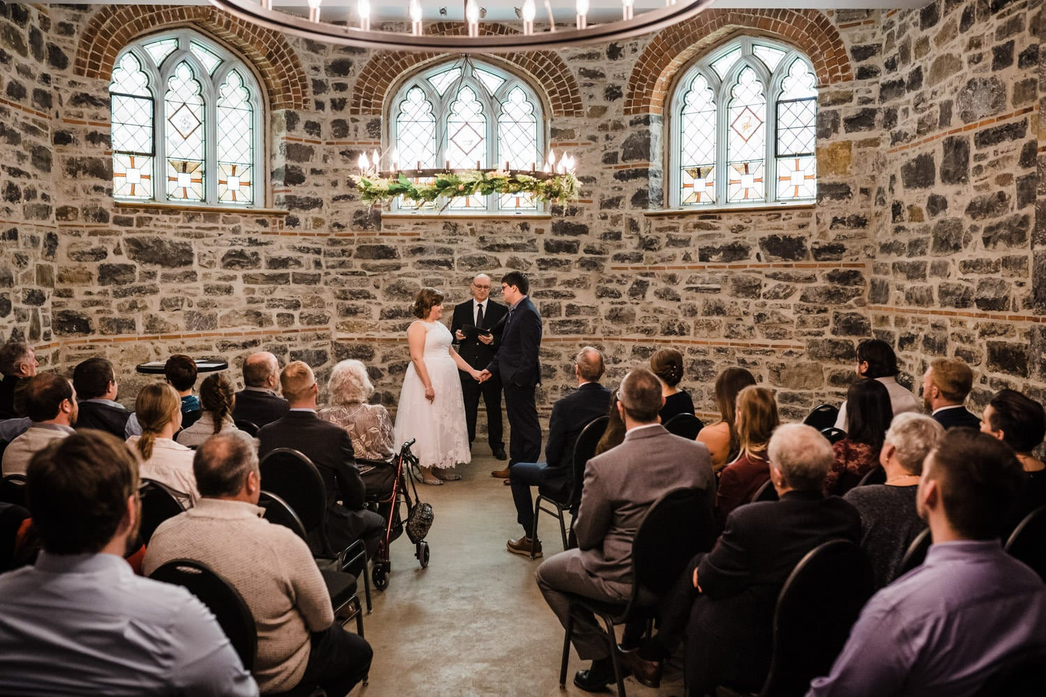 bride and groom at their intimate winter wedding ceremony