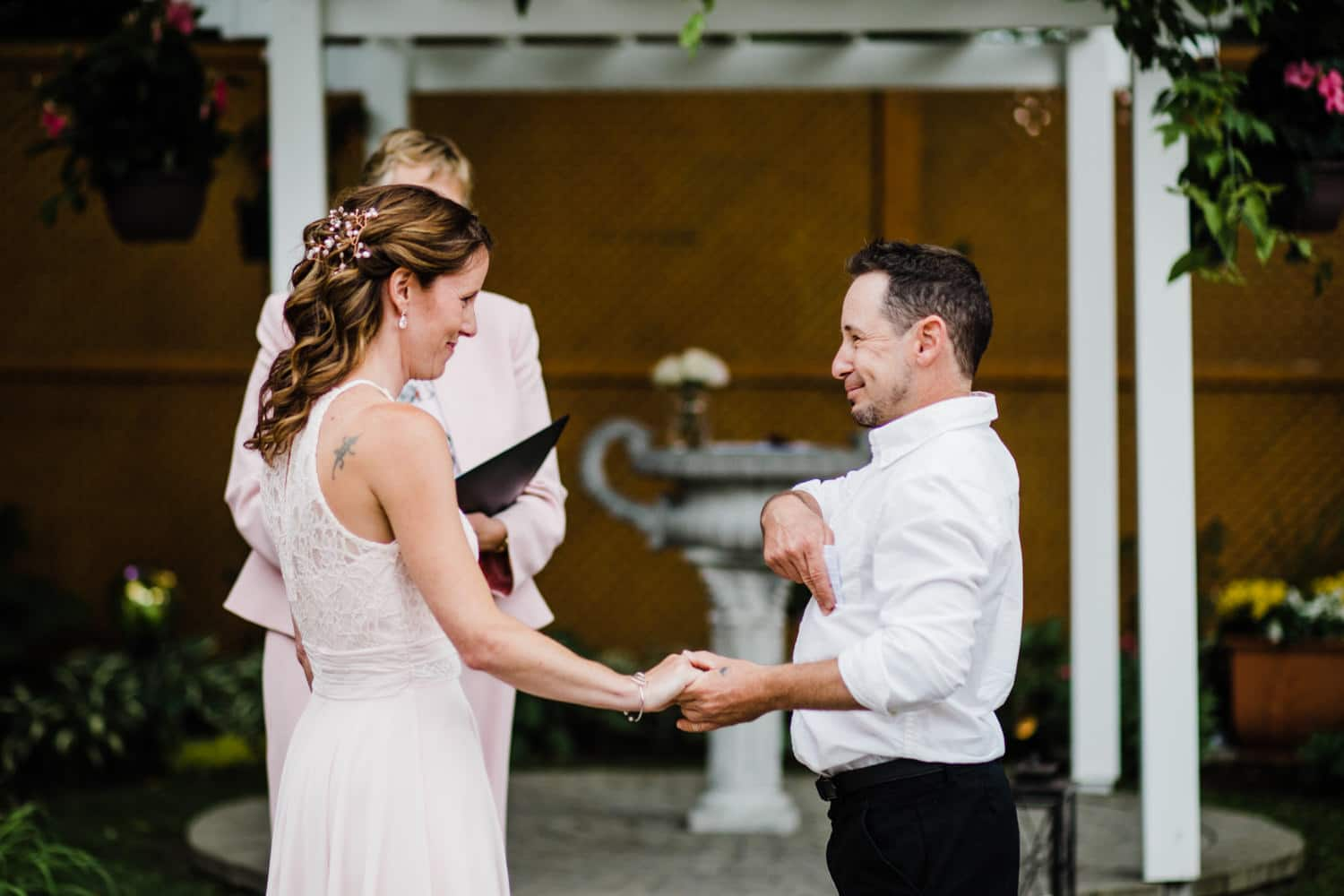bride and groom exchange vows - small outdoor wedding ottawa