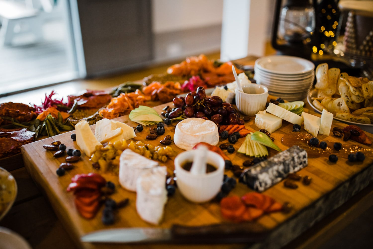 charcuterie board at small wedding