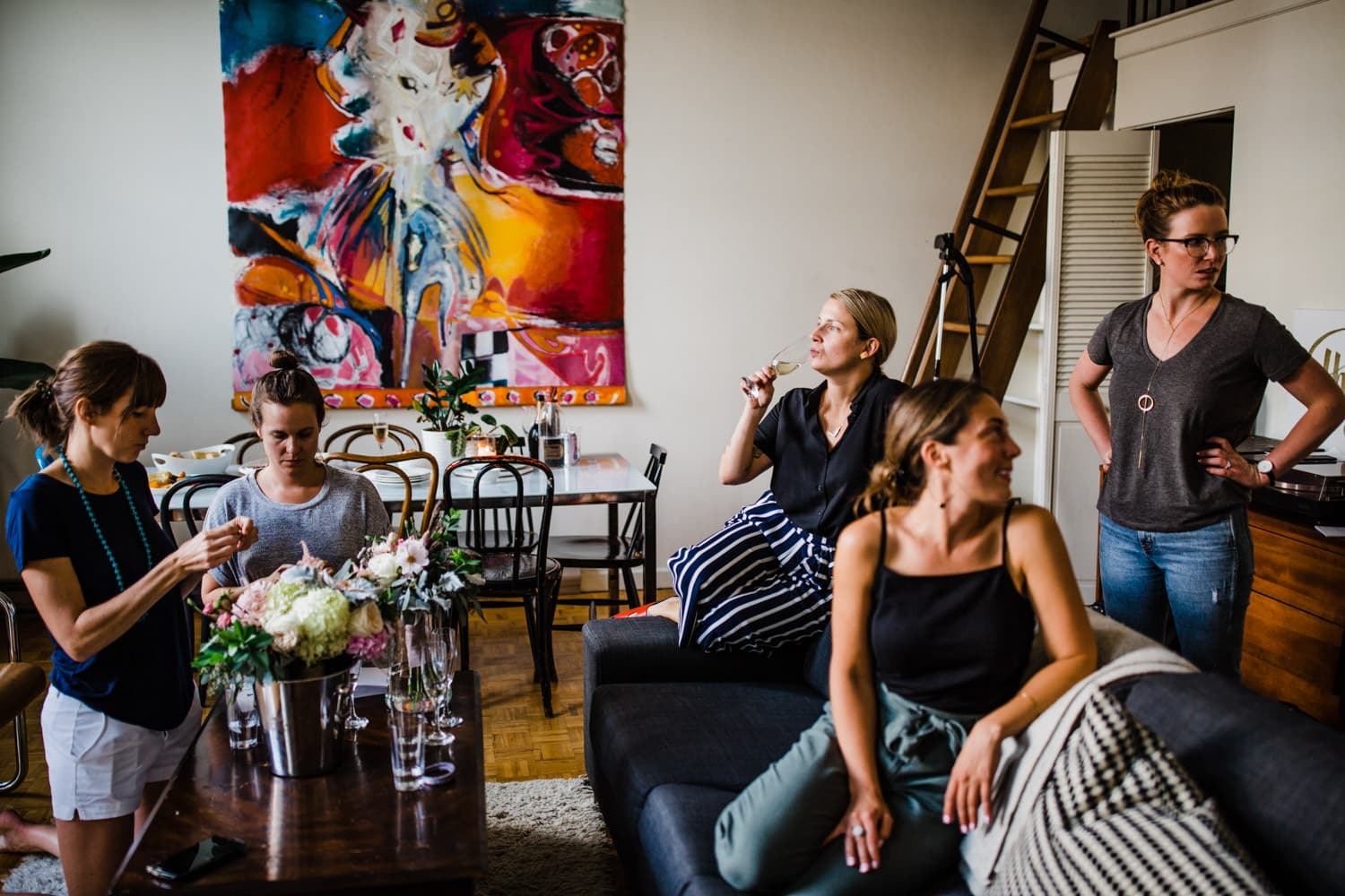 bride gets ready in downtown loft with friends - small wedding at The Sussex Contemporary