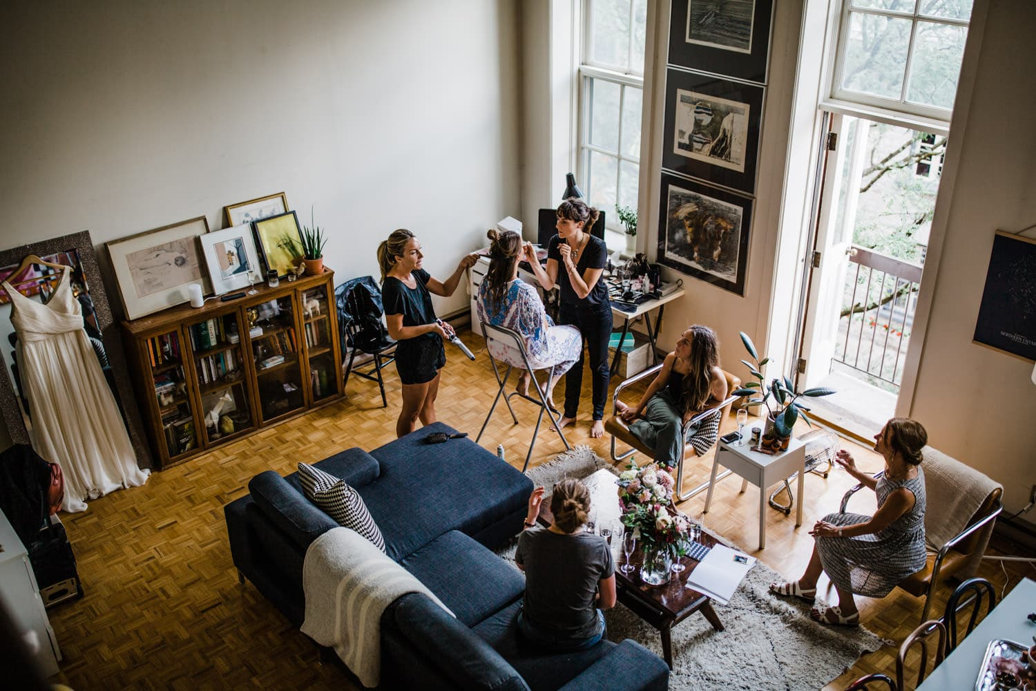 bride gets ready in downtown loft - small wedding at The Sussex Contemporary