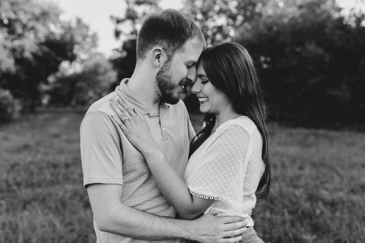 black and white portrait of couple standing together