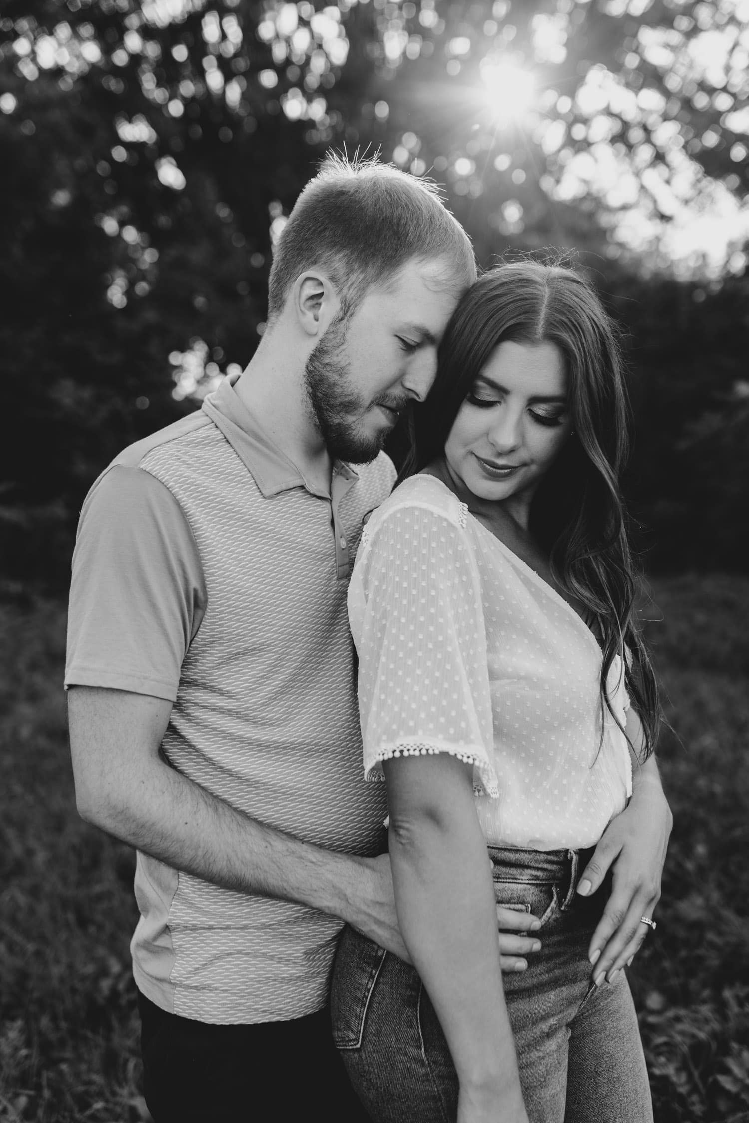 black and white portrait of couple standing together - ottawa anniversary session