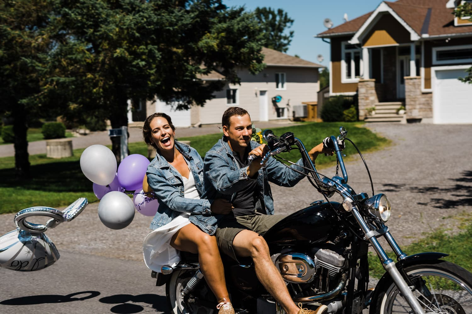couple celebrate with motorcycle ride after backyard wedding