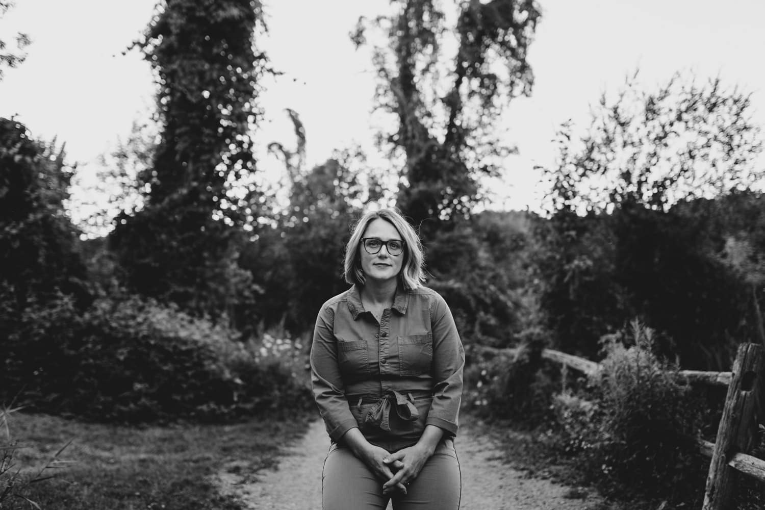 black and white portrait of woman in forested area - ottawa brand photography
