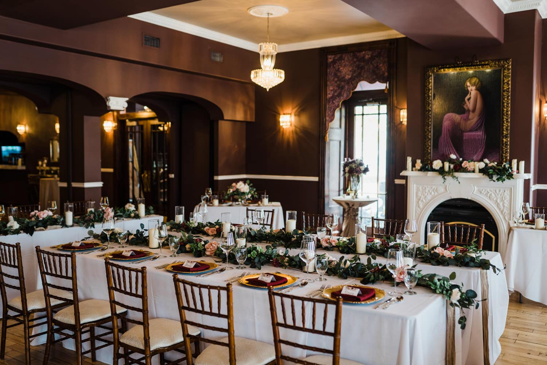 Reception setup at The Grand Hotel