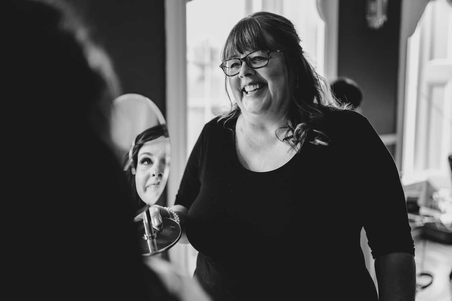 Bride and her mother have a moment while they get ready - The Grand Hotel Wedding in Carleton Place