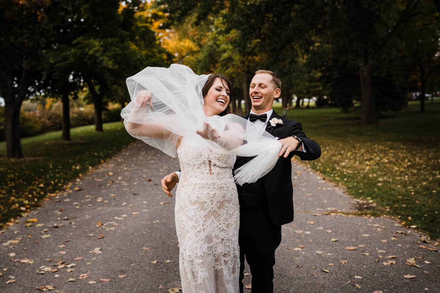 bride and groom get tangled in the veil - the grand hotel wedding in carleton place