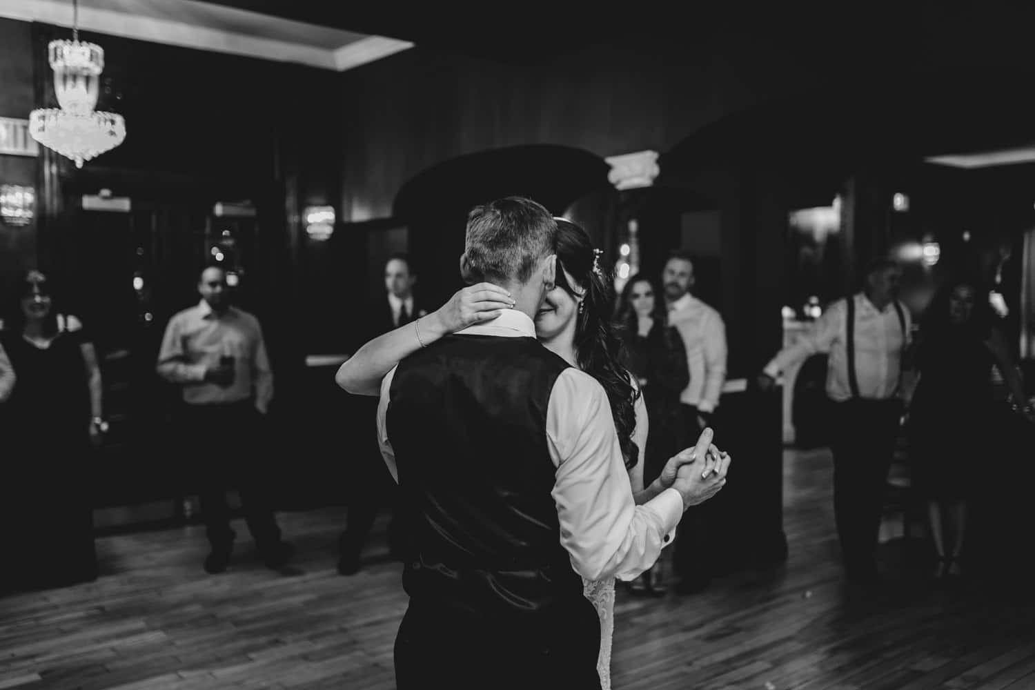 bride and groom share an emotional first dance - the grand hotel wedding in carleton place