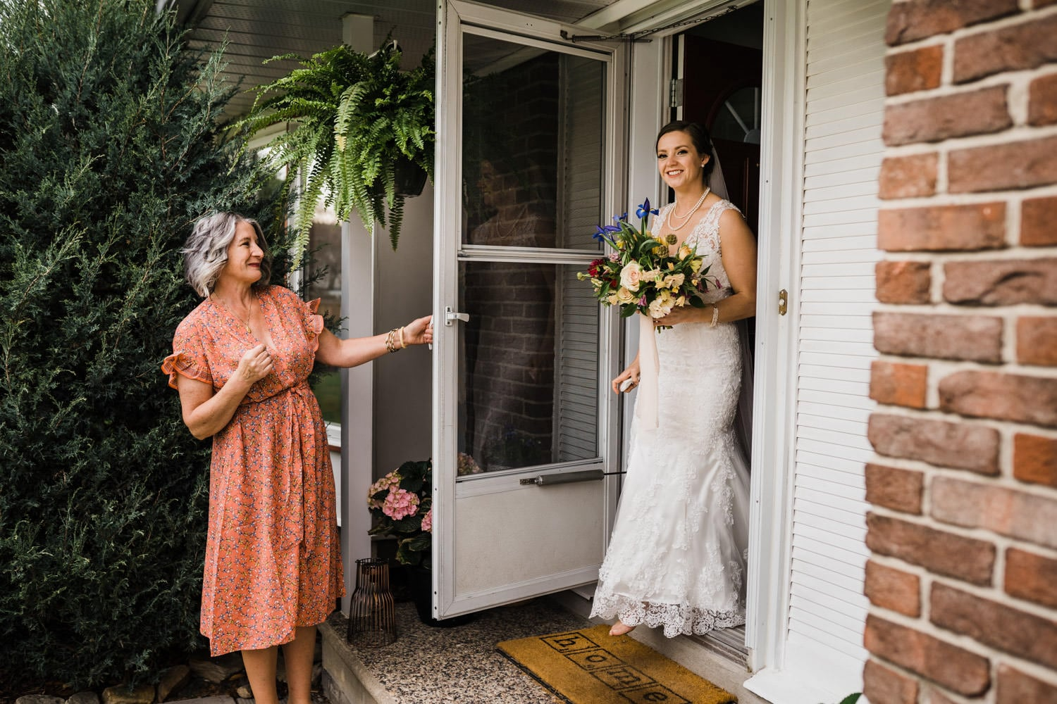 bride walks out of house for her small backyard wedding ottawa