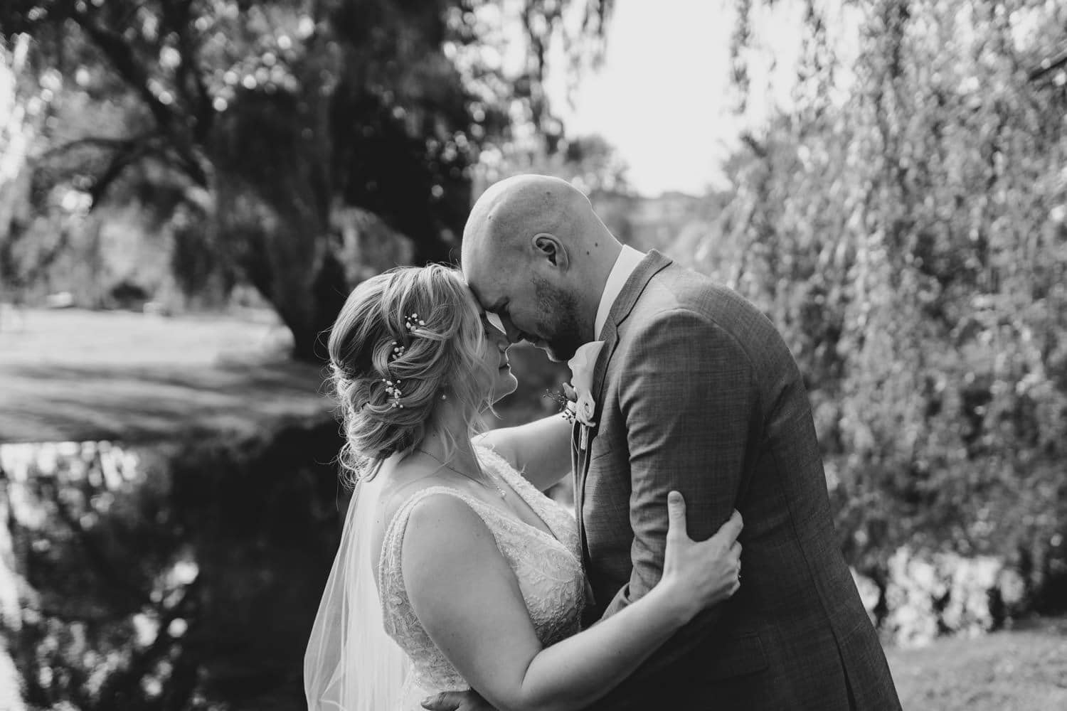 closeup photo of bride and groom in stewart park perth