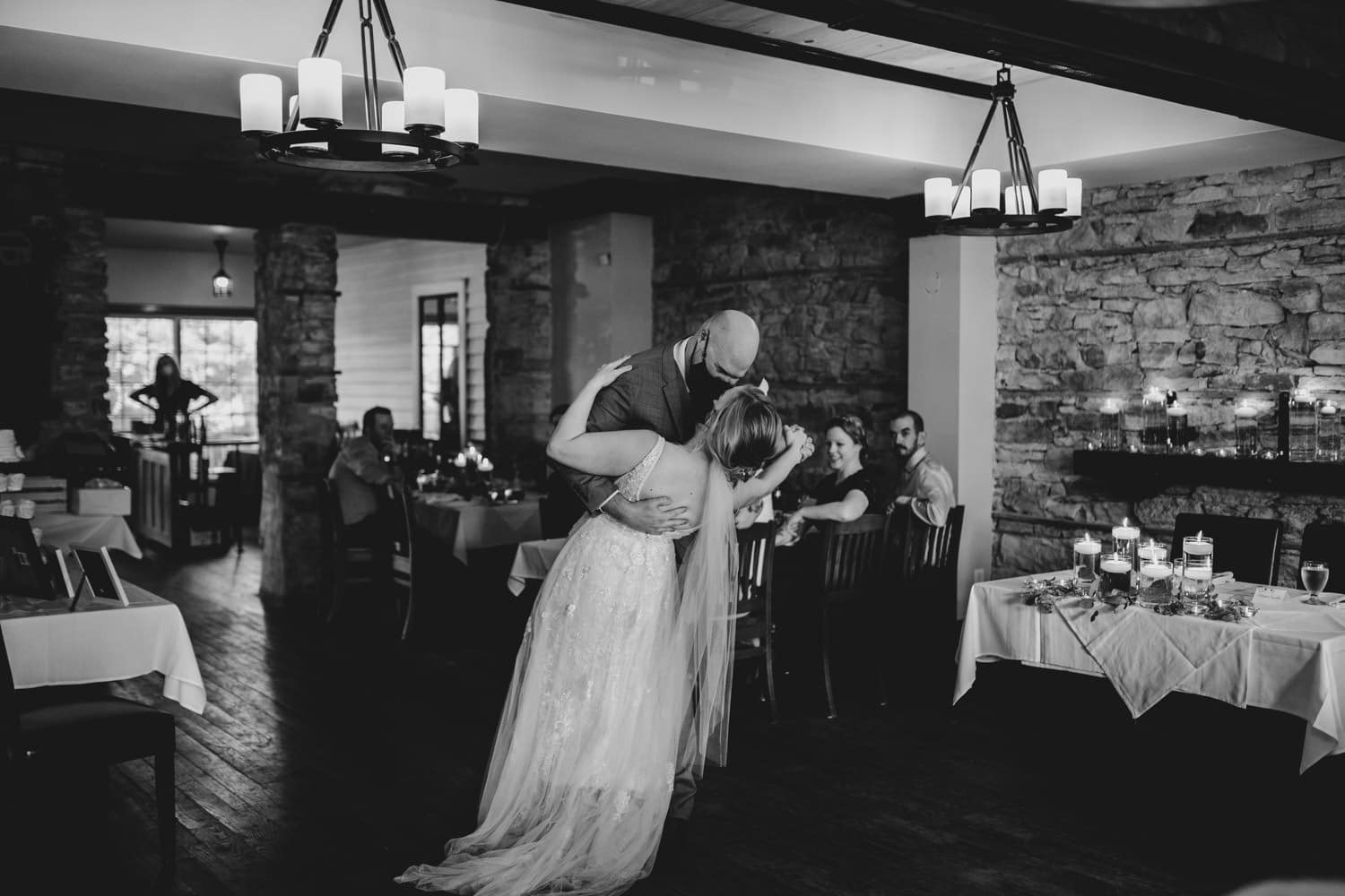 couple have their first dance at the stone cellar in perth