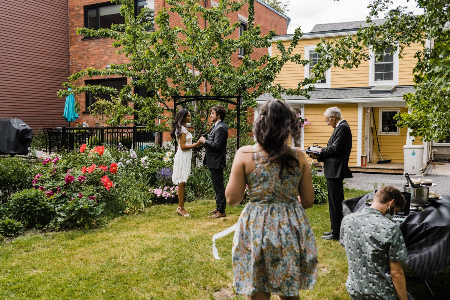 small backyard ceremony with just two witnesses - ottawa elopement