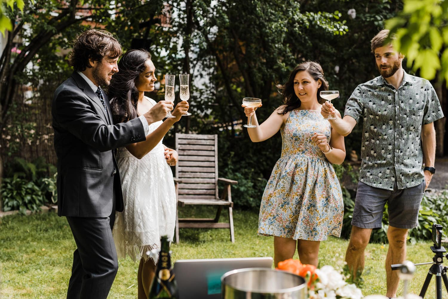 couple share a toast with their witnesses - ottawa elopement