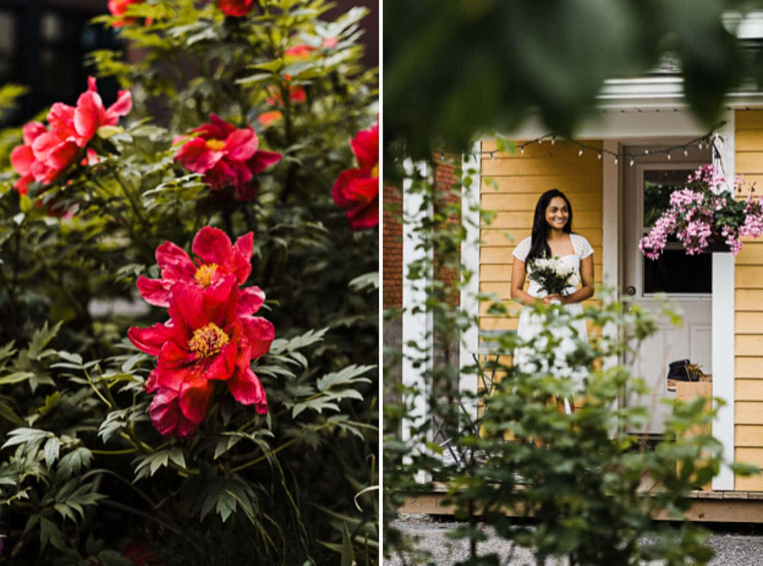 a bride walks out of her home ready for backyard wedding ceremony